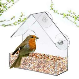 1 pc Triangle Bird Feeder Acrylic Birdhouse Hanging Bird Fee