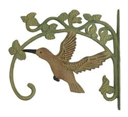 2 Hummingbird Cast Iron Plant Hangers Bird Feeders Yard Gard