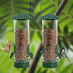 2 Pack Classic Tube Bird Feeder Outdoor Hanging Bird Feeder