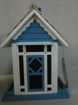 2 PORT SONGBIRD 1.8 LB WOOD BIRD FEEDER - COUNTRY BLUE