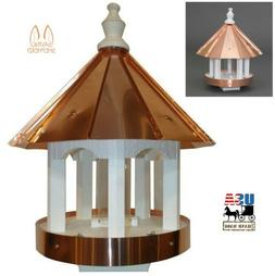 "24"" COPPER TOP BIRD FEEDER - Post Mount Ventilated Drains"