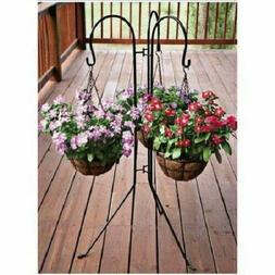 "45"" Triple Shepherd Hook Plant Basket Hanger Bird Feeder Lan"