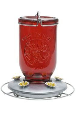 Perky Pet 786 32 Oz Red Glass Mason Jar Hummingbird Feeder