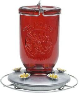 Perky-Pet 786 Red Mason Jar Glass Hummingbird Feeder