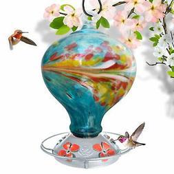 Grateful Gnome - Hummingbird Feeder - Hand Blown Glass - Blu