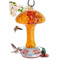 Grateful Gnome - Hummingbird Feeder - Hand Blown Glass - Red