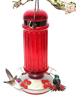 Grateful Gnome - Hummingbird Feeder - Red Glass Bottle with