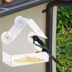 Acrylic Bird Squirrel Feeder Tray Birdhouse Window Suction C