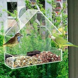acrylic transparent window viewing bird feeder tray
