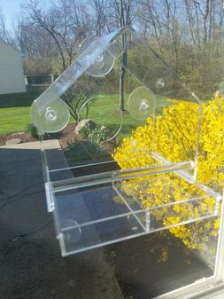 Acrylic Window Bird Feeder with Removable Tray Durable Windo