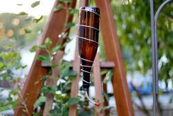 Amber Glass Wine Bottle Hummingbird Feeder, Bird Feeder, gif