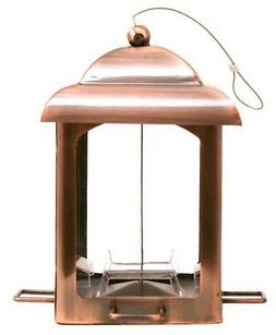 Antique Copper Lantern Feeder Holds Seed Stations Bird Prefe