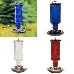 Antique Square Decorative Glass Hummingbird Feeder 16 Oz Cap