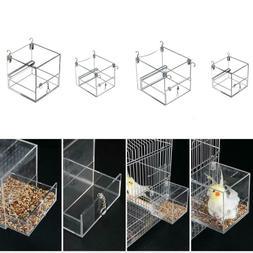 Automatic Birds Parrot Feeders Acrylic Hanging Bird Bath Cag