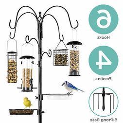 BCP 89in Bird Feeding Station, 6-Hook Steel Multi-Feeder Sta