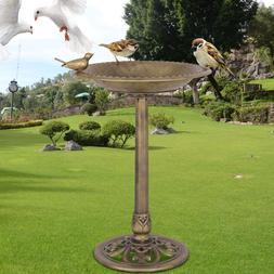 Beautiful Antique Gold Freestanding Pedestal Bird Bath Feede