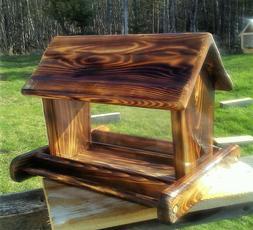 Beautiful large handmade cedar wood square post mount bird f