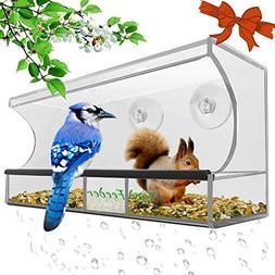 Window Bird Feeder,Bird House Crystal Clear Acrylic with Rem