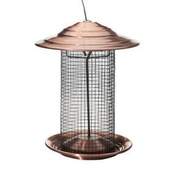 Bird Feeder Copper color metal feeding ports Outdoor Patio L