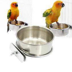 Bird Feeder Food Water Dish Stainless Steel Clamp Holder Par