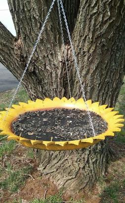 *BIRD FEEDER* HANDCRAFTED* REPURPOSE TIRE *SUNFLOWER* HANDMA