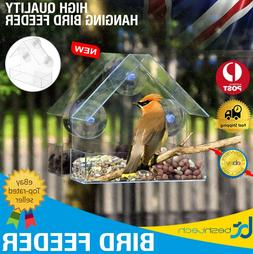 Bird Feeder Hanging Clear Glass Window Viewing Bird Feed Out