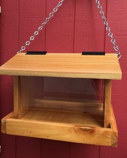 Bird Feeder Large Hanging Cedar Wood Handmade With Adjustabl