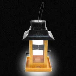 Bird Feeder LED Hanging Lamp Outdoor Bird Food Container Sto