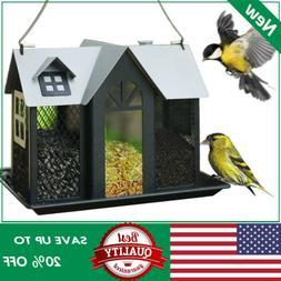 KINGSYARD Bird Feeder Metal Hanging Finch Wildlife Seed Feed