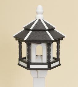BIRD FEEDER ~ Amish Handmade Recycled Poly Hexagon ~ Black &