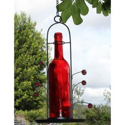 Bird Feeder Seed Red Wine Bottle 3 Cup Capacity Yard Patio G