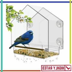BIRD FEEDER Window House Removable Sliding Tray Drain Holes