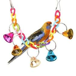 Bird Parrot Toy Hanging Swing Cage Rope Pet Chew Bell Feeder