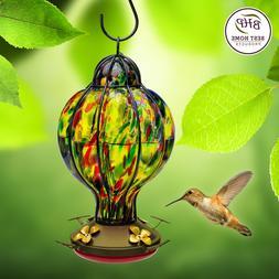 Best Home Products Blown Glass Hummingbird Feeder Tiffany Tr