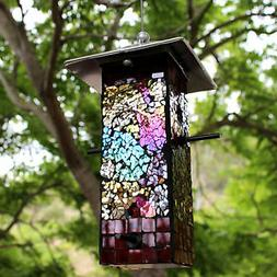 Mosaic Stained Glass Bird Feeder Large Capacity BRAND NEW Ya