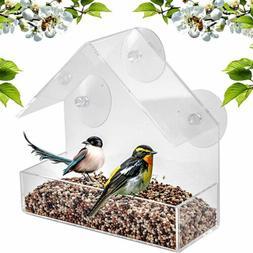 Brand New Window Glass Bird Feeder Clear Perspex Seed Peanut