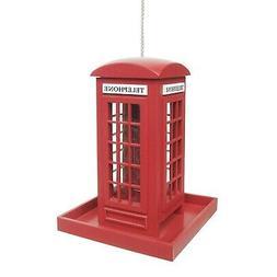 British Phone Box Bird Feeder - Hanging Red Phone Booth Lawn