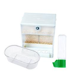 Cage Bird Feeder Food Container - Automatic No Mess 2 Compar