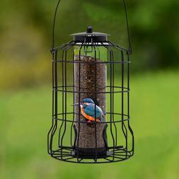 Caged Tube Feeder Squirrel Proof Wild Bird Feeder Outdoor Bi
