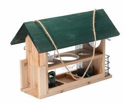 Outside Fun Charming Cedar Wood Deluxe Green Bird House Feed