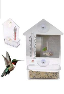 Mini Clear Bird Feeder Window Suction Cup w/ Thermometer Min