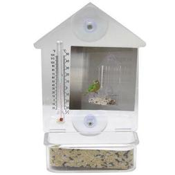 "Clear Bird Feeder Window Suction Cup w/ Thermometer 7""x4"" Bi"