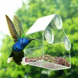 Clear Bird Squirrel Food Feeder House Tray Birdhouse Window