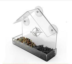 Clear Birds Squirrel Food Feeder House Tray Birdhouse Window