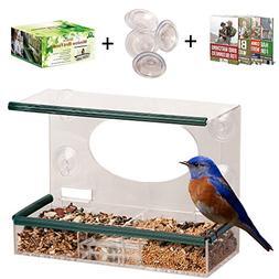 Birdious Wild Window Bird Feeder for Outside: Enjoy Unique W