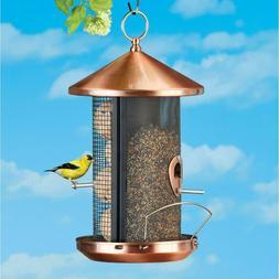Copper Metal Hanging Bird Feeder Seeds Birds Squirrel Proof