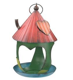 Corrugated Metal Whimsical Green Bird Feeder 11.5 Inch Garde