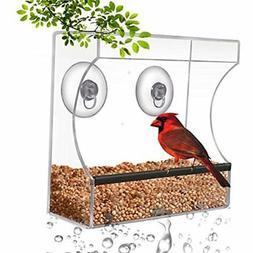CRYSTAL CLEAR BIRD FEEDER - Suction Window Feeders Birds, Ca