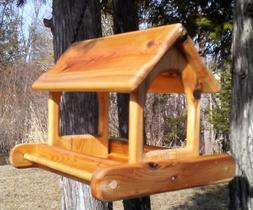 Cute large hanging cedar wood fly through platform Bird/Squi