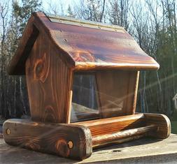 Cute rustic small handmade cedar wood square post mount bird